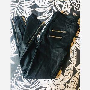 Faux leather pants.